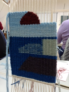 Work in progress at weekend Tapestry Beginners course at West Dean College