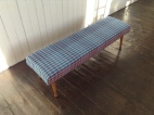 Long footstool in handwoven upholstery fabric for Cambrian Mountains Wool Challenge