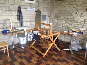 My designated weaving corner  in the cafe at the old Prison, Northleach