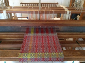8 Shaft Countermarch loom warped up and sampling started