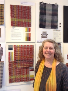 At the Award Winners Exhibition. The final design and development samples of my handwoven fabric.